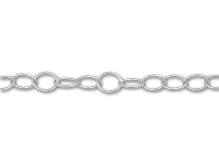 Antique Silver-Plated 6.5x5mm, 22 Gauge Cable Chain by the Foot