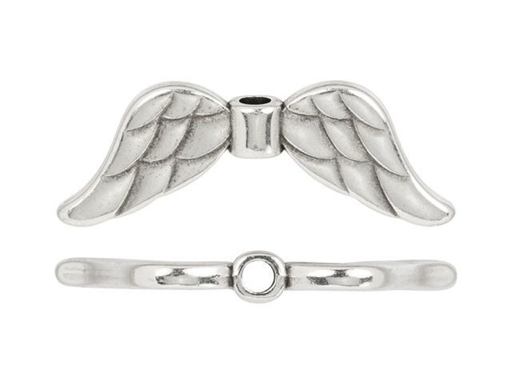Antique Silver-Plated Angel Wing Bead