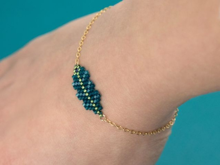 Gold and Light Aqua Peyote Stitch Beadwork Bracelet