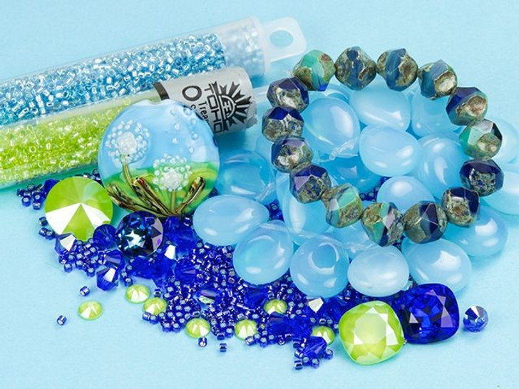 Swarovski Crystal Lime and Majestic Blue Color Party
