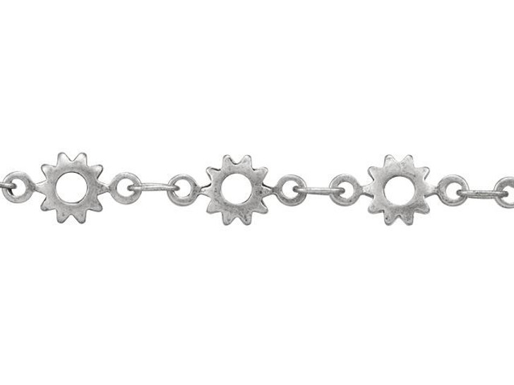 Antique Silver-Plated Brass Cog Chain by the Foot