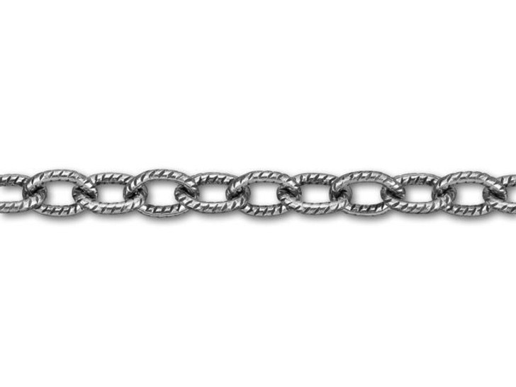 Antique Silver-Plated Brass Textured Oval Cable Chain by the Foot