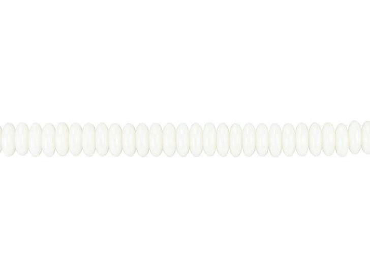 Czech Glass 6mm Light Ivory White Luster Disc Spacer Bead Strand by Raven's Journey