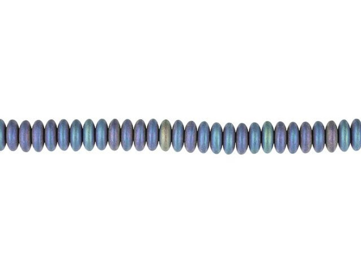 Czech Glass 6mm Peacock Purple Blue Satin Disc Spacer Bead Strand by Raven's Journey