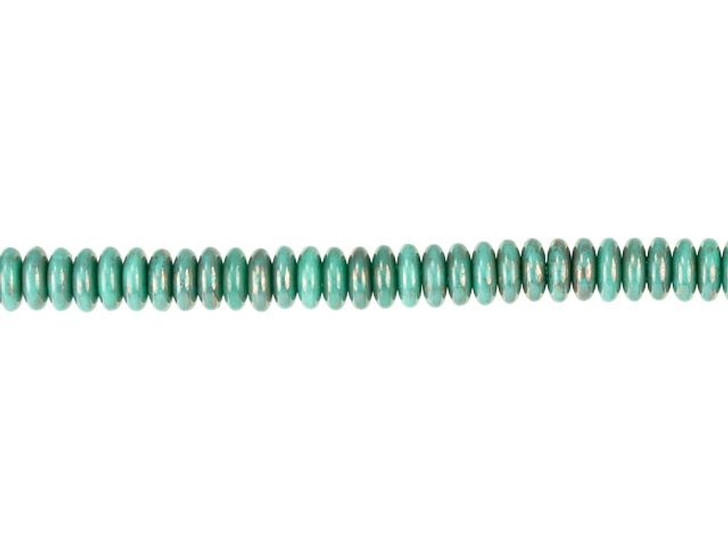 Czech Glass 6mm Turquoise Bronze Marbled Finish Disc Spacer Bead Strand by Raven's Journey