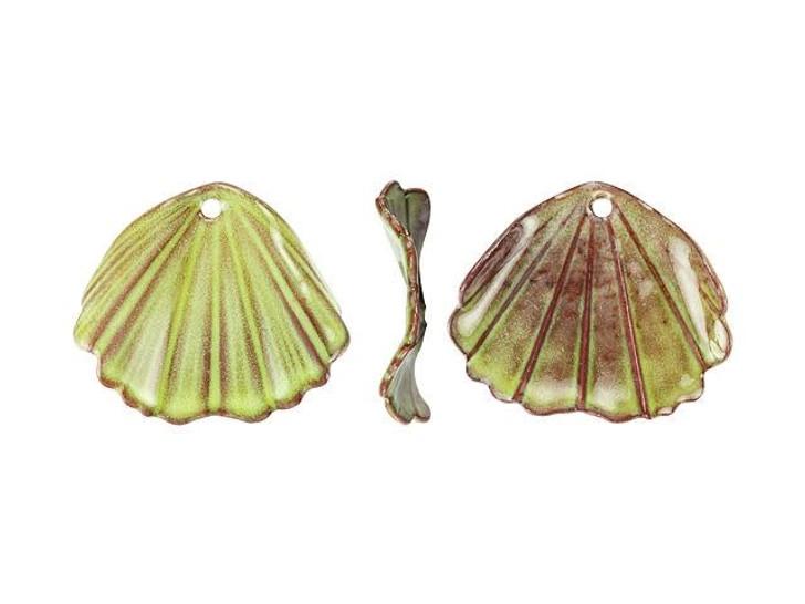 Gardanne Beads Lime Enameled Brass Ginkgo Charm