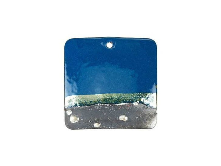 Gardanne Beads Peacock Blue Silver Horizon Enameled Brass Square Pendant