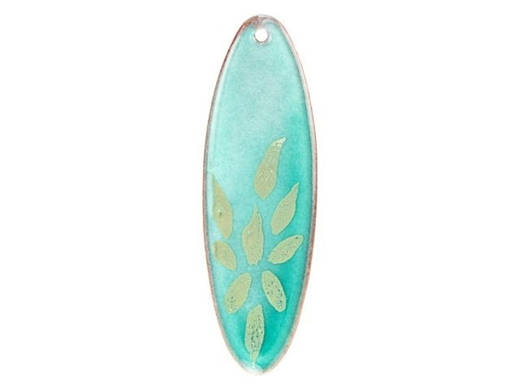 Gardanne Beads Peppermint with Silver Petals Enameled Brass Long Oval Pendant