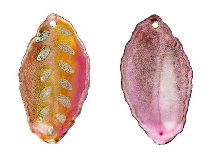 Gardanne Beads Raspberry with Silver Enameled Brass Seed Pod Leaf Pendant