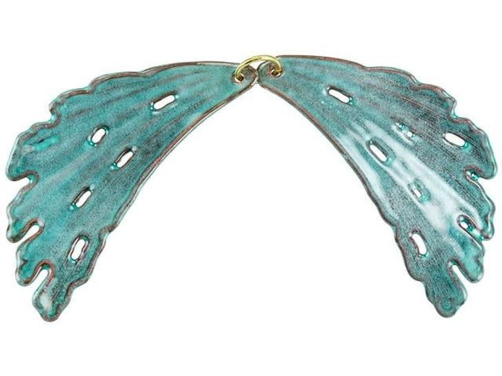 Gardanne Beads Sea Green Enameled Brass Fan Coral Pendant (Pair)