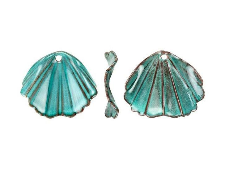 Gardanne Beads Sea Green Enameled Brass Ginkgo Charm