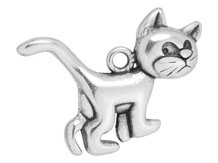 Antique Silver-Plated Cat Charm