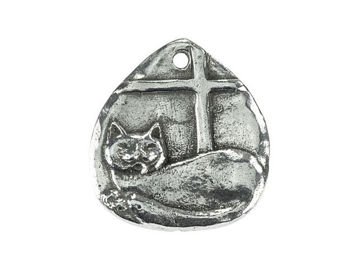 Green Girl Studios Pewter Window Kitty Cat Drop Pendant