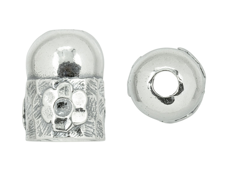 Sterling Silver End Cap with Flower Design