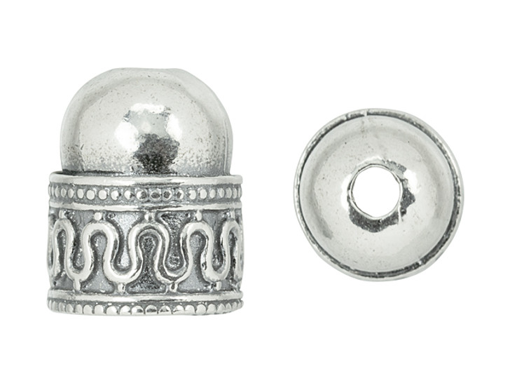 Sterling Silver End Cap with Swirling Zig-Zag Design