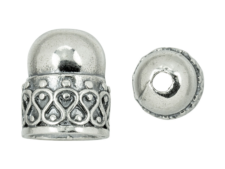 Sterling Silver End Cap with Fancy Scroll Design