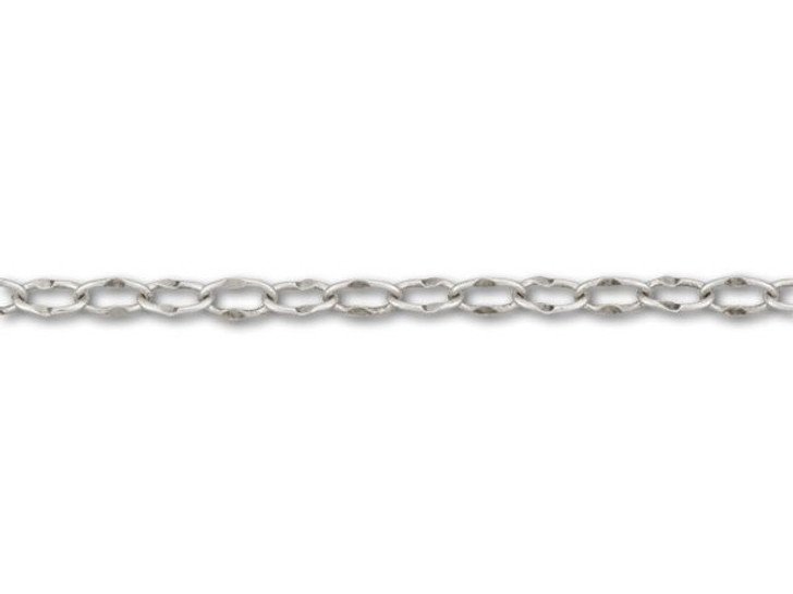 Antique Silver-Plated Crimped Oval Link Chain by the Foot