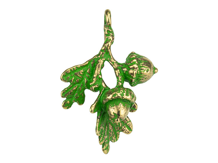 Anna Bronze Large Branch with Acorns Pendant with Patina