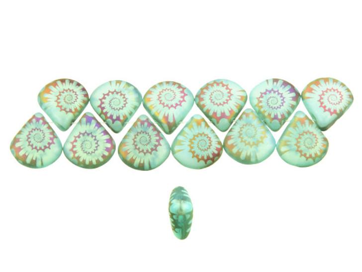 Czech Glass Aqua Blue Rainbow Opaline Laser-Etched Briolette Spiral Design Bead Strand by Raven's Journey