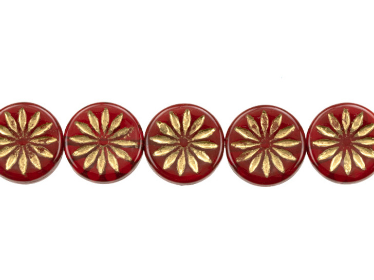 Czech Glass 12mm Opaline Red with Gold Wash Aster Coin Bead Strand by Raven's Journey