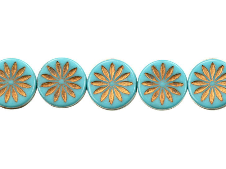 Czech Glass 12mm Opaque Teal Turquoise with Dark Bronze Wash Aster Coin Bead Strand by Raven's Journey