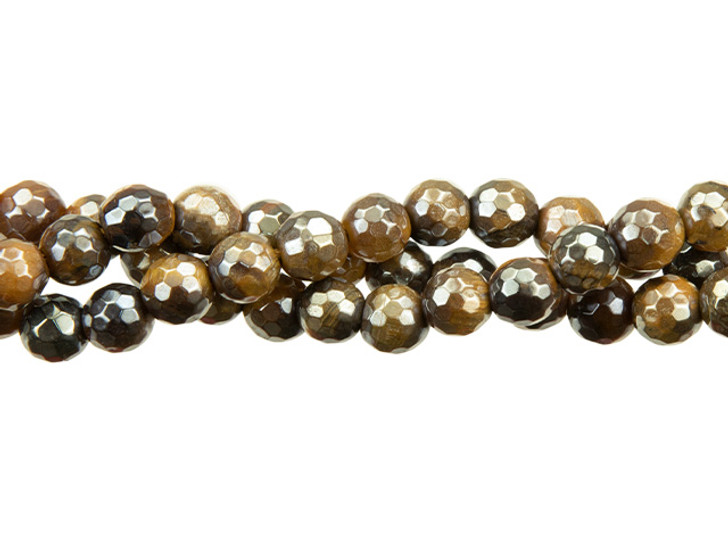 Dakota Stones Tiger's Eye with Aurora Coating 6mm Faceted Round Bead Strand - Limited Edition