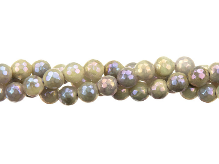 Dakota Stones Plated Purple Jade with Aurora Coating 6mm Faceted Round Bead Strand - Limited Edition