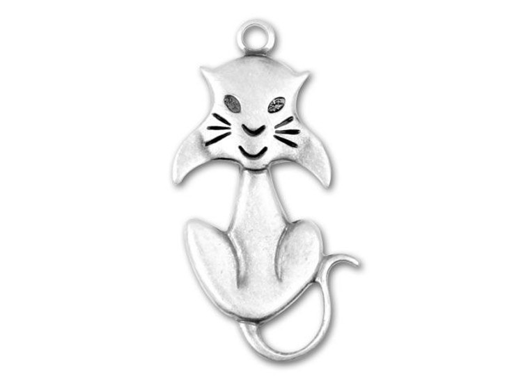 Antique Silver-Plated Elegant Cat Charm