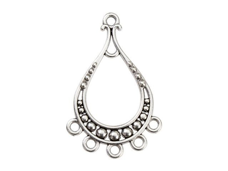 Antique Silver-Plated Ethnic Teardrop Chandelier with 5 Loops