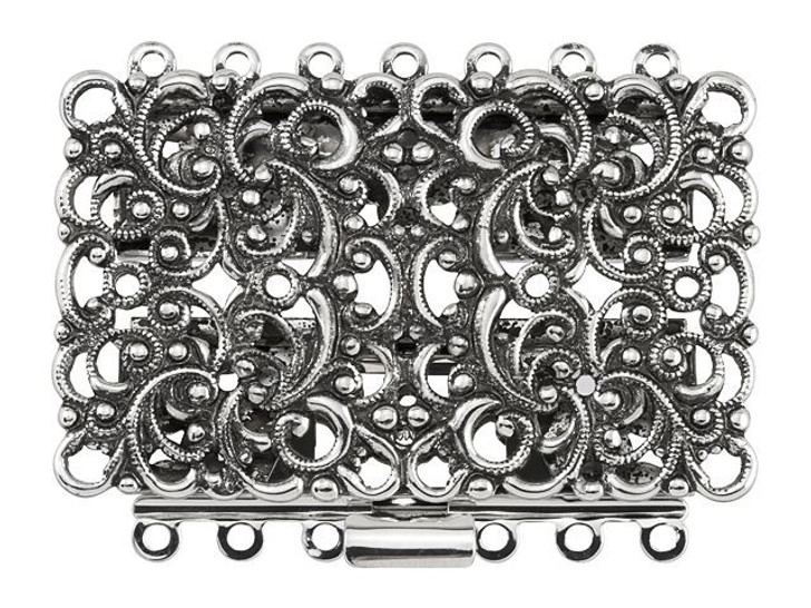 Antique Silver-Plated Filigree Rectangle Clasp, 44x27mm with 7 Rings