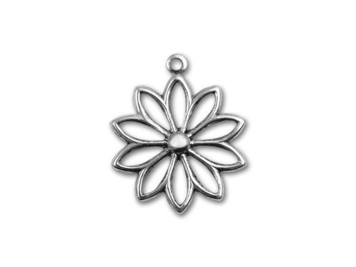 Antique Silver-Plated Flower Outline Charm
