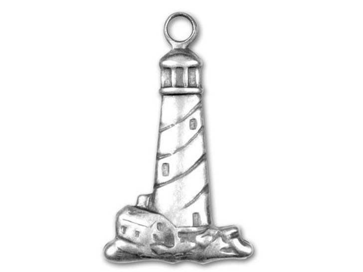 Antique Silver-Plated Lighthouse Charm
