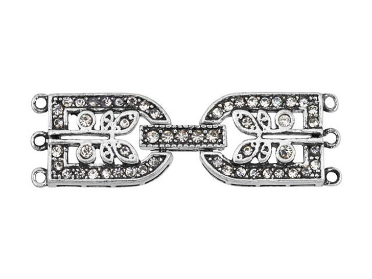 Antique Silver-Plated Pave Crystal Rectangular Buckle Clasp with 3 Rings