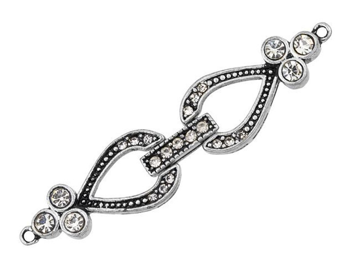 Antique Silver-Plated Pave Crystal Teardrop Buckle Clasp with 1 Ring