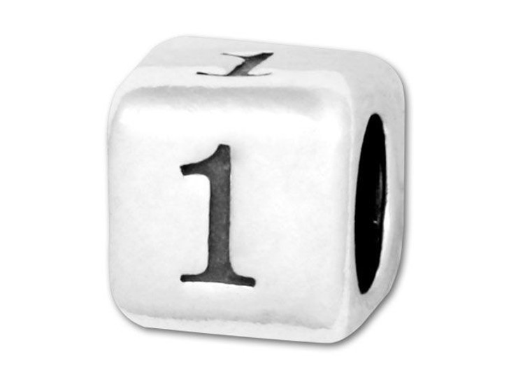 Number Bead 5.8mm Rounded Cube - 1