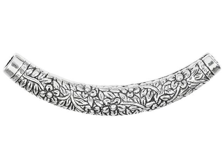Antique Silver-Plated Pewter Floral Design Curved Tube Bead