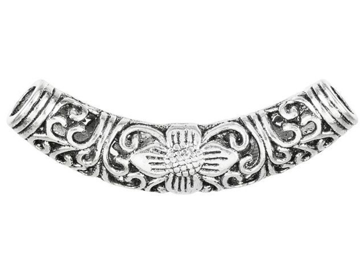 Antique Silver-Plated Pewter Jumbo Floral Vine Design Tube Bead
