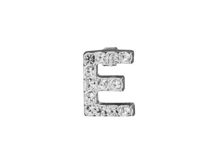 Sterling Silver Letter E Pendant with Tube Bail (7mm)