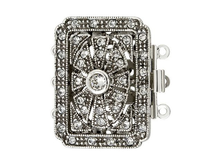 Antique Silver-Plated Rectangle Marquise Clasp with Clear Swarovski Crystals