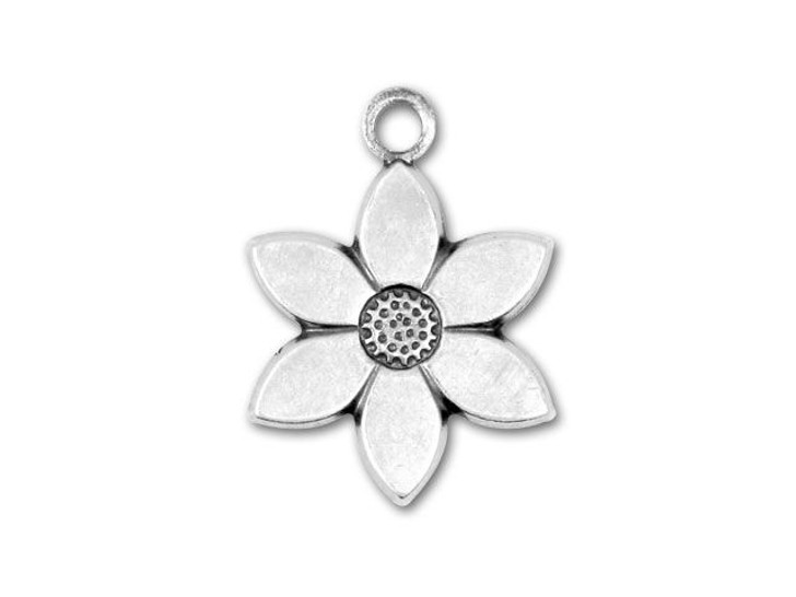 Antique Silver-Plated Star Flower Charm