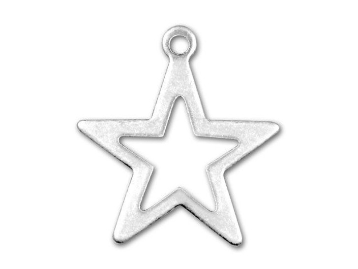 Antique Silver-Plated Star Outline Charm