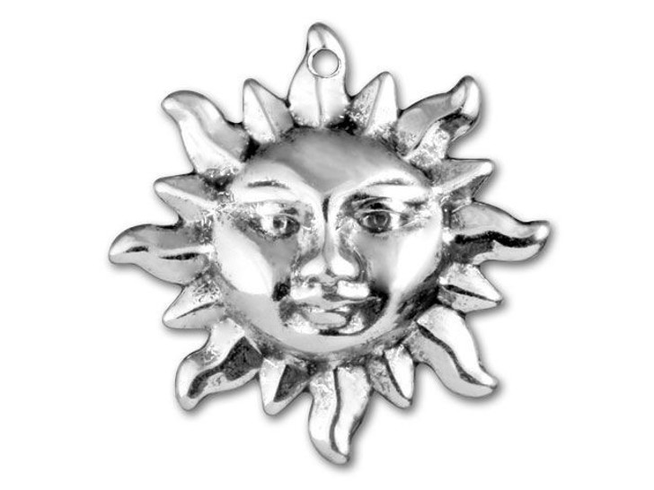 Antique Silver-Plated Sun Charm
