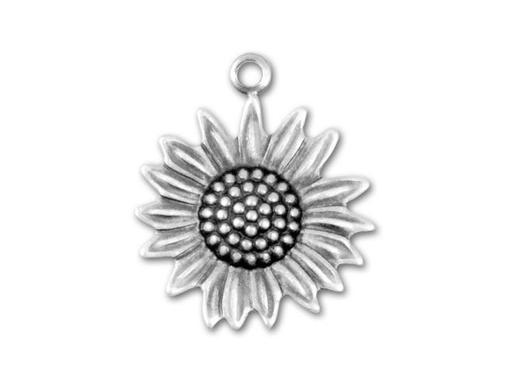 Antique Silver-Plated Sunflower Charm