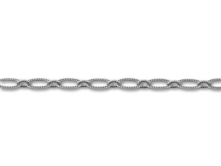 Antique Silver-Plated Textured Oval Cable Chain by the Foot