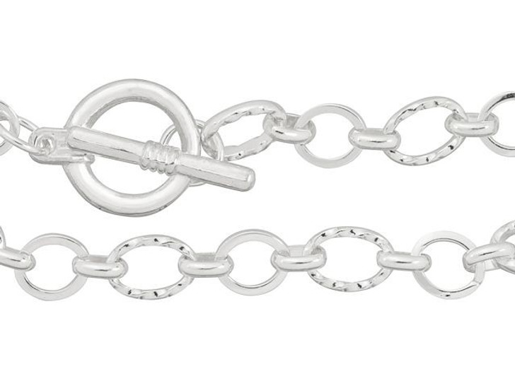 Artbeads 7.5-Inch Silver-Plated Textured and Plain Link Chain Finished Bracelet for Charms