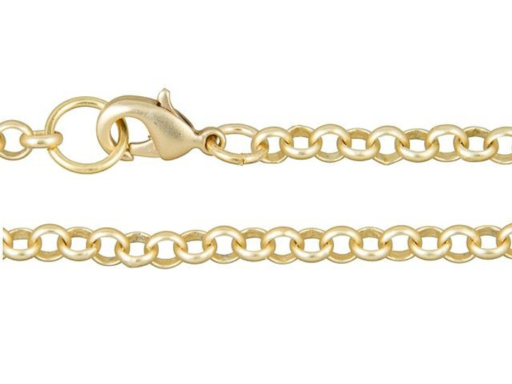 Artbeads 7-Inch Satin Hamilton Gold-Plated Rolo Chain Finished Bracelet for Charms