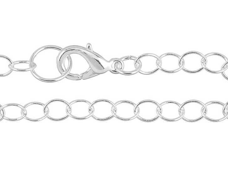 Artbeads 7-Inch Silver-Plated Cable Chain Finished Bracelet for Charms