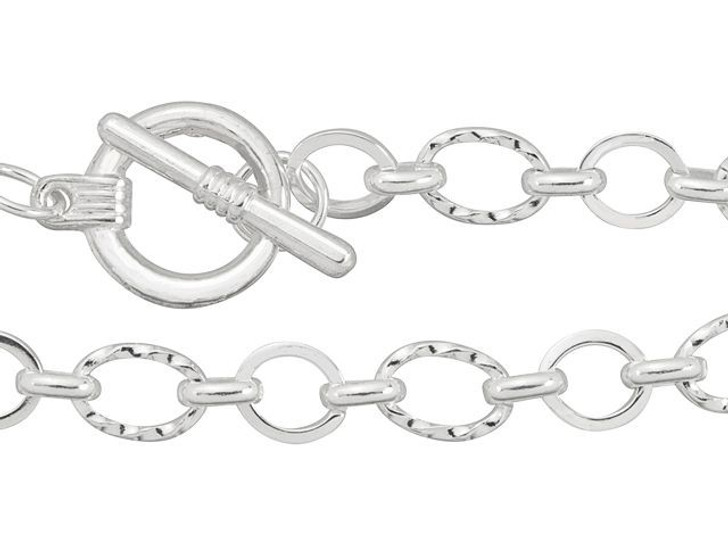Artbeads 7-Inch Silver-Plated Textured and Plain Link Chain Finished Bracelet for Charms