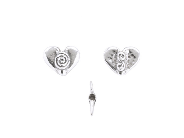 Sterling Silver Small Heart Bead with Spiral Design