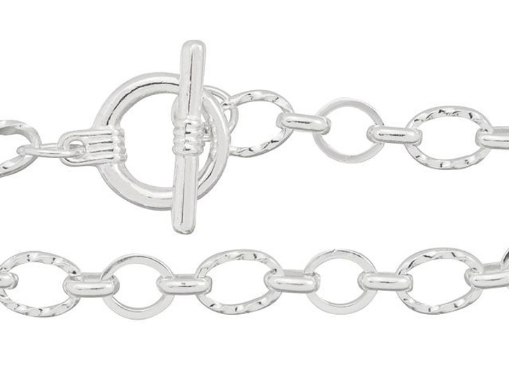 Artbeads 8-Inch Silver-Plated Textured and Plain Link Chain Finished Bracelet for Charms